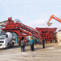 Portable Small Semi-trailing mobile concrete batching plant for ongoing project