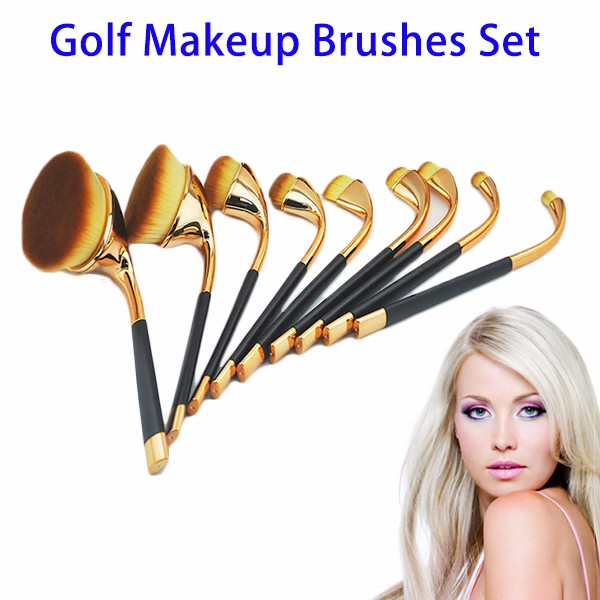 Hot Selling Private Label Professional 9pcs Cosmetics Golf Oval Synthetic Makeup Brush Set