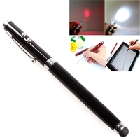 4 in 1 Multifunction Laser Pointer Pen, Capacitive Stylus Pen + Ball Pen + Red Laser Pointer + White LED Flashlight
