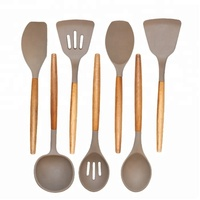 Premium 10 piece Nylon Silicone Kitchen Cooking Utensil Set with Natural Acacia Hard Wood Handle