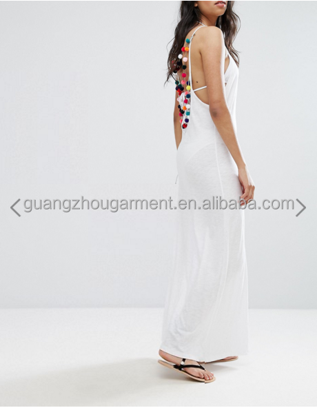 f9776a4c5ad5 guangzhou latest cheap clothing summer white beach Pom Pom Necklace Dress