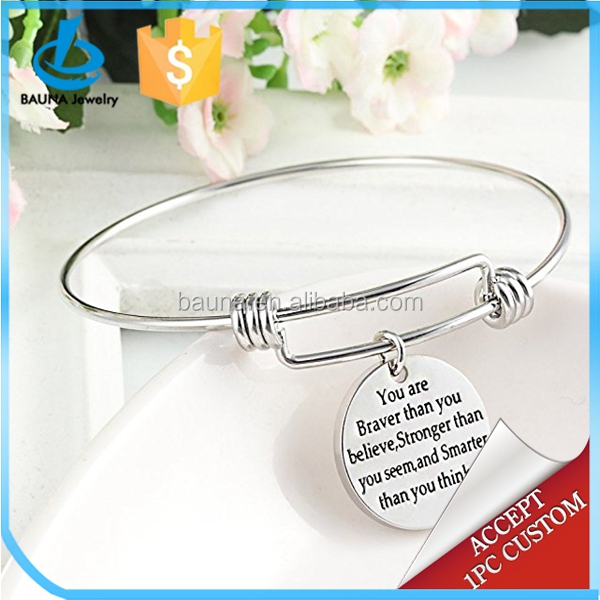 Wholesale You're Braver Stronger Smarter than you think Inspirational Bracelet Expandable Bangle Gift for Women Men