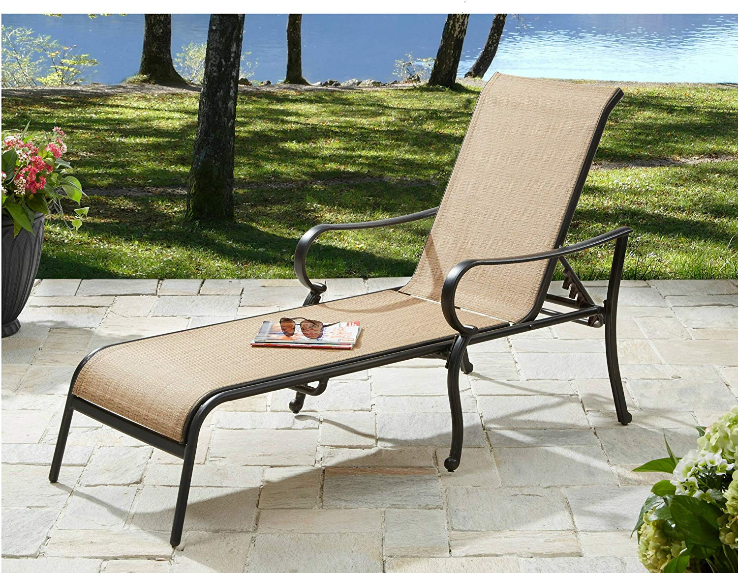 Outdoor Chaise Lounge Chair Patio Pool Furniture Clearance Poolside Deck Lounger Aluminum Frame Sling Fabric