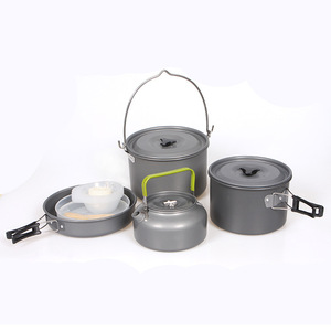 Amazon 5-6 Person Outdoor Picnic Portable Mess Kit Camping Cookware Travel Camping Cooking Set