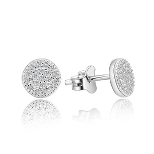 POLIVA Wholesale Trendy Women Jewelry Earrings 925 Sterling Silver Pave Small Diamond Circle Round Ear Studs