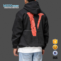 Black Rubber Screen Print Letter Logo Front Pocket Mens Hoodies Fall Season Fleece Pullover Polyester Spandex Sweatshirts