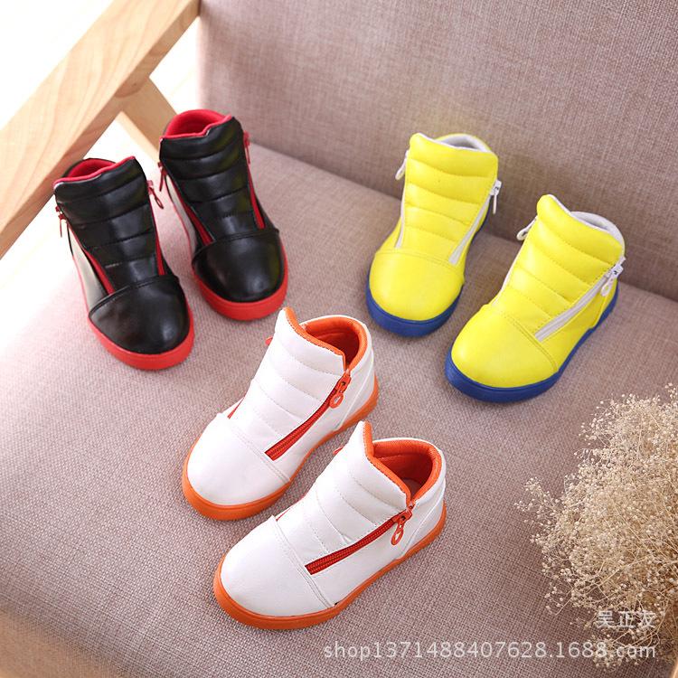 Высокая мальчики и девочки с дети корейский версии a сплошной цвет молния приливы обувь