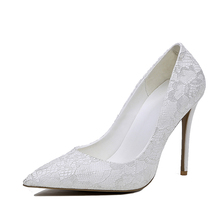 2017 new fashion white lace embossment women pumps Wedding dress shoes