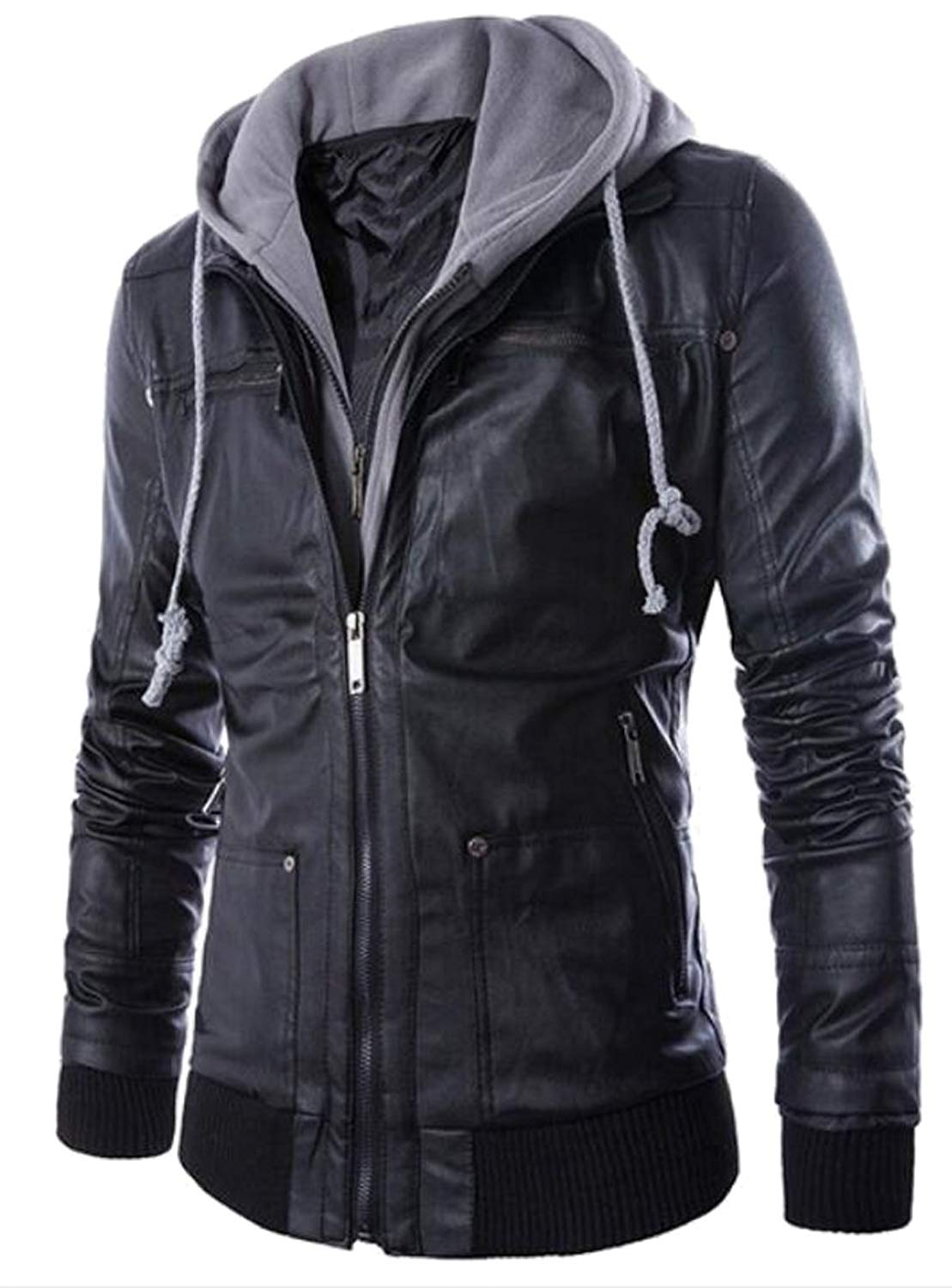 8eacbf298027 Get Quotations · Oberora Mens Fashion Zip Up Faux Leather Hoodies Biker  Jackets