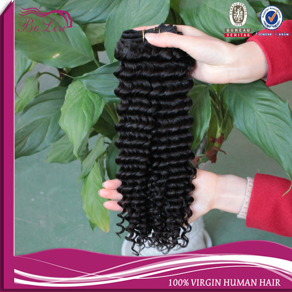 Brazilian Deep Wave 18-20-22 3pcs a lot #1 color Alibaba expreee free sample human virgin hair extension
