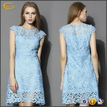 62a040aa3f7 sleeveless Blue Jasmine Lace Crochet dresses new fashion for girls