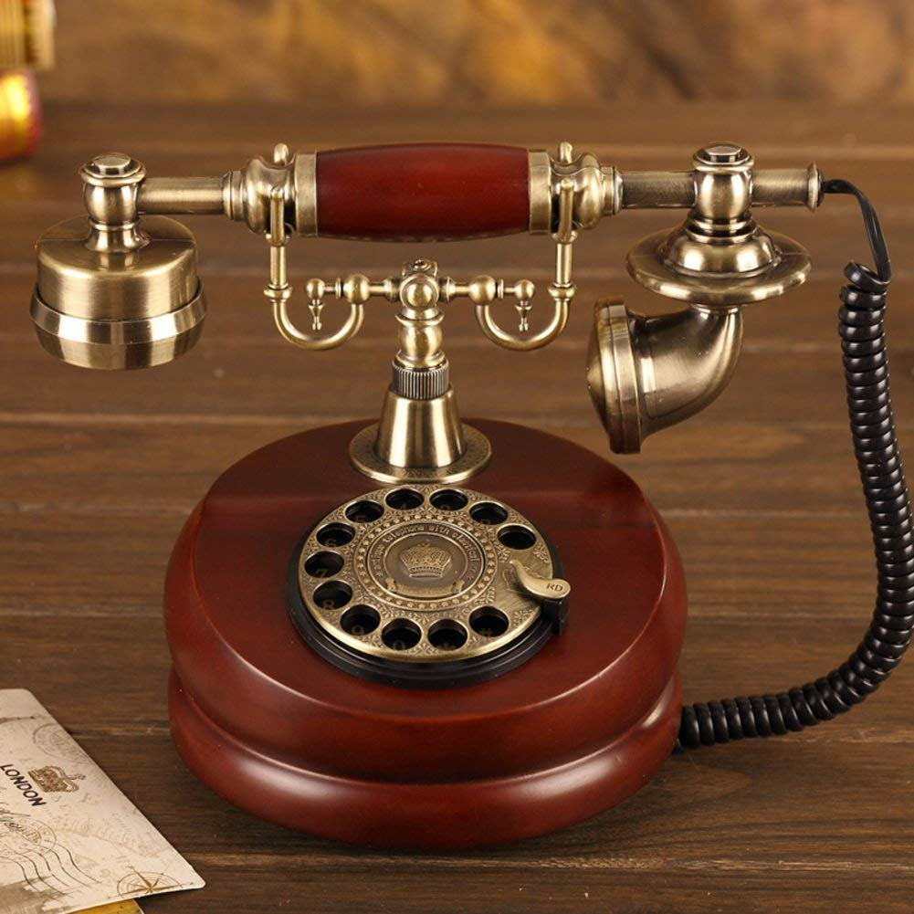 Vintage decorative phone Rotating disk antique telephone landline Antique European telephone Household fixed landline Antique telephone Fashion creative corded phone,B