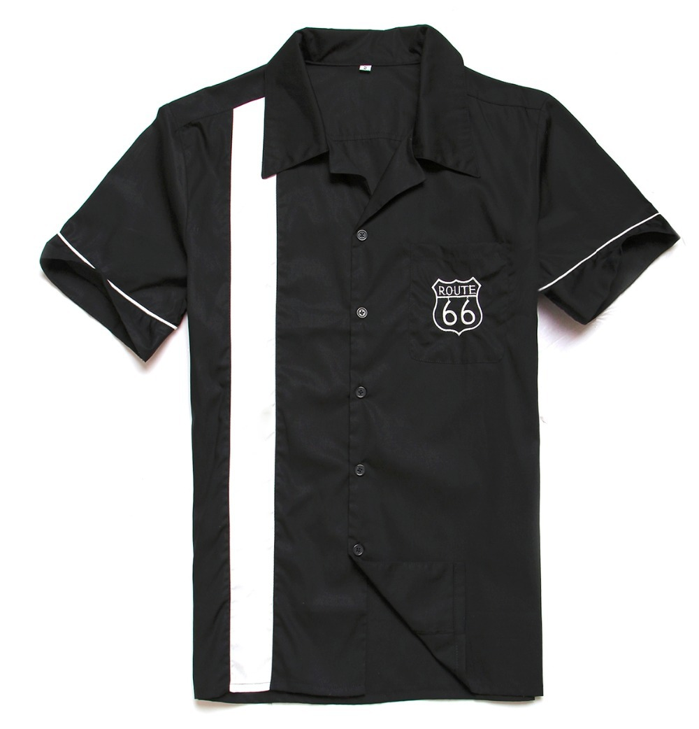 Buy men  39 s rockabilly 50  39 s tattoo grease shirts short sleeve piping  camisa masculina blusa route 66 clothes stage party shirt for man in Cheap  Price ... 6576ec1b70e