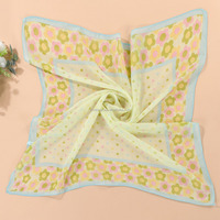 Wholesale Summer Fashion lady's solid Polka Dot Bandana Chiffon Silk Scarf
