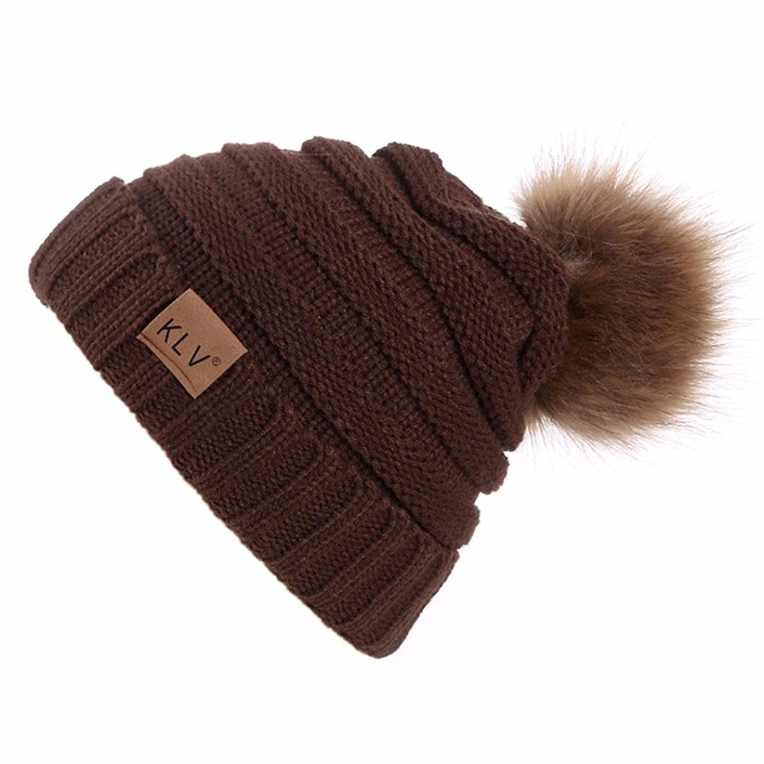 96431f29066c05 Get Quotations · Hunputa Unisex Hat Winter, Womens Winter Slouchy Knit  Beanie Chunky Faux Fur Pom Poms Hat