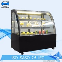 Supermarket Refrigerated Cake Bakery Display Counter With Stainless Steel Shelves