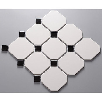 Factory Price White Octagonal Collocation Small Black Ceramic Mosaic Tiles Octagon Tile Product On