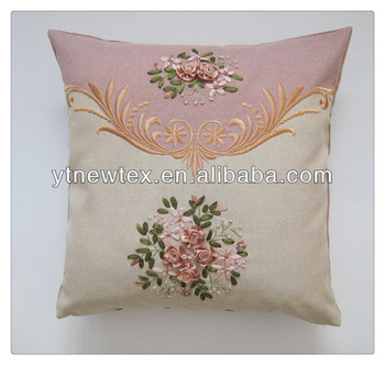 Amazing Hand Embroidery Flower Design Sofa Cushion Cover