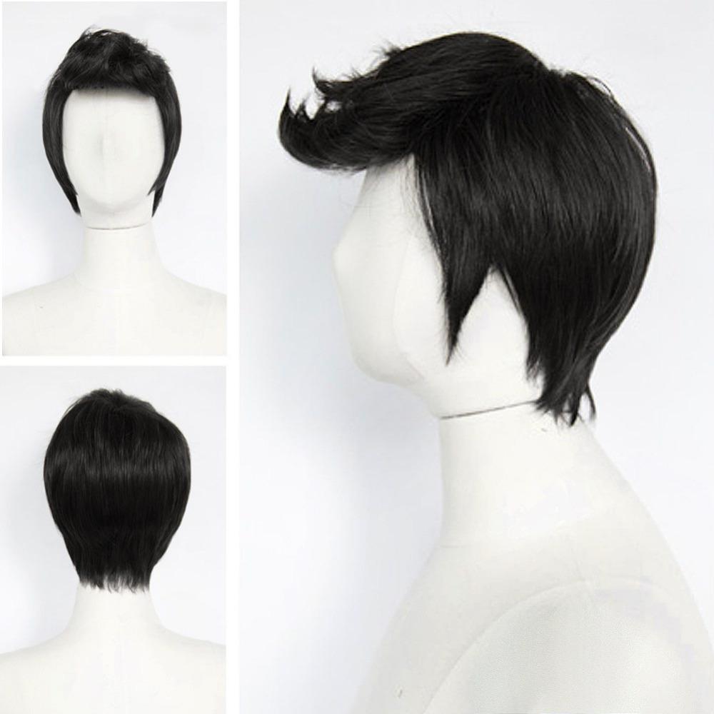 Корейский красавцы парик короткие волосы косплей мужской мальчики полный парики черный коричневый