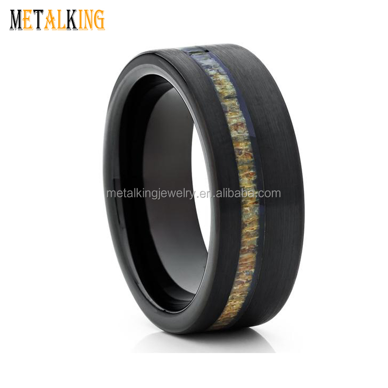 8mm Men Plated Black Tungsten Wedding Band Ring Inlay Deer Antler Brushed Comfort Fit