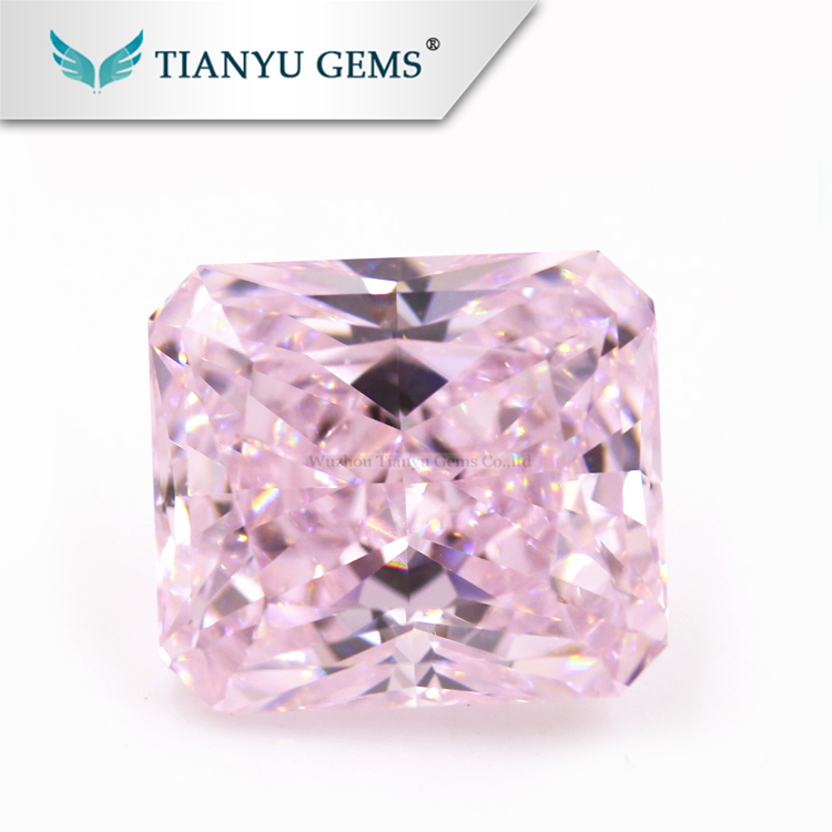 Most Shinning pink color radiant CZ Stone Lab Diamond
