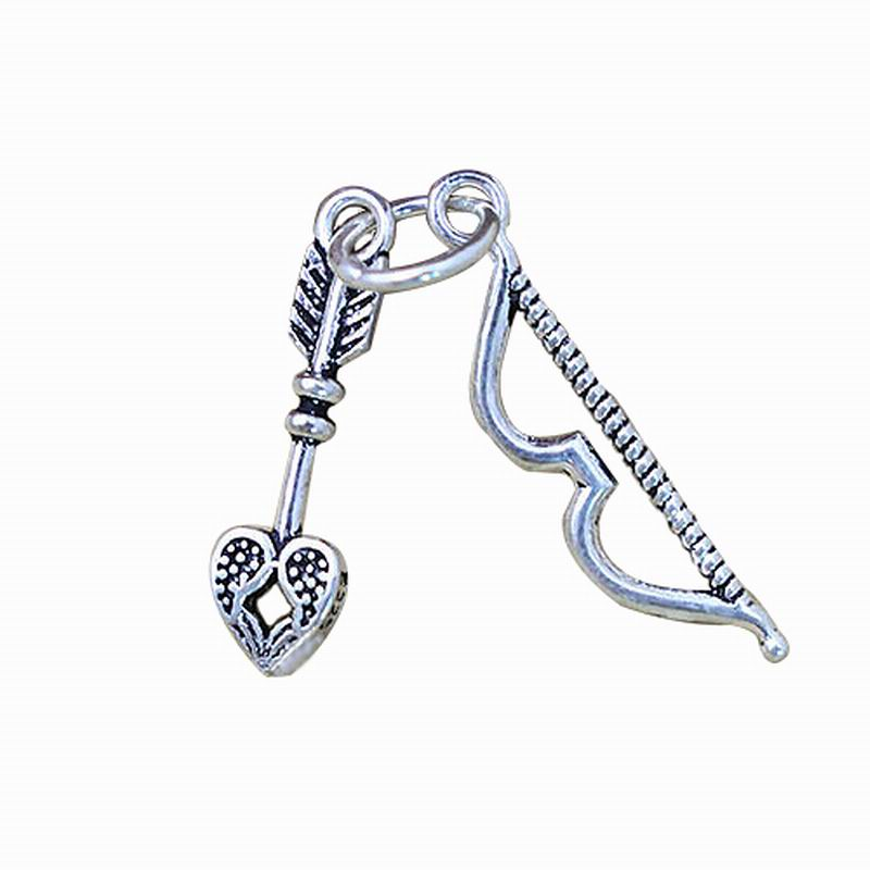 Vintage 925 Sterling Silver Charm Fits Necklace Bracelets Jewelry Handmade Cupid bow and arrow Charms Wholesale