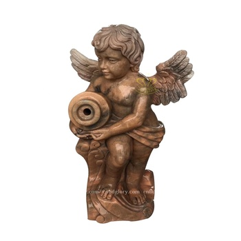 Customized stone carving marble statue Little angel holding vase fountain