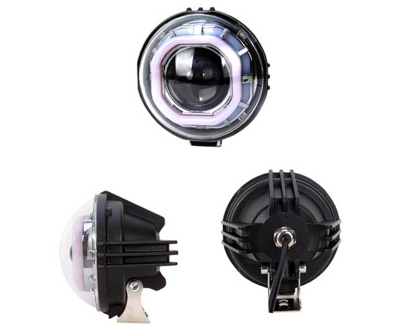 External dual angel demon eye lens led 20W 2400LM 1.8A IP65 6500K Motorcycle electric car led headlight