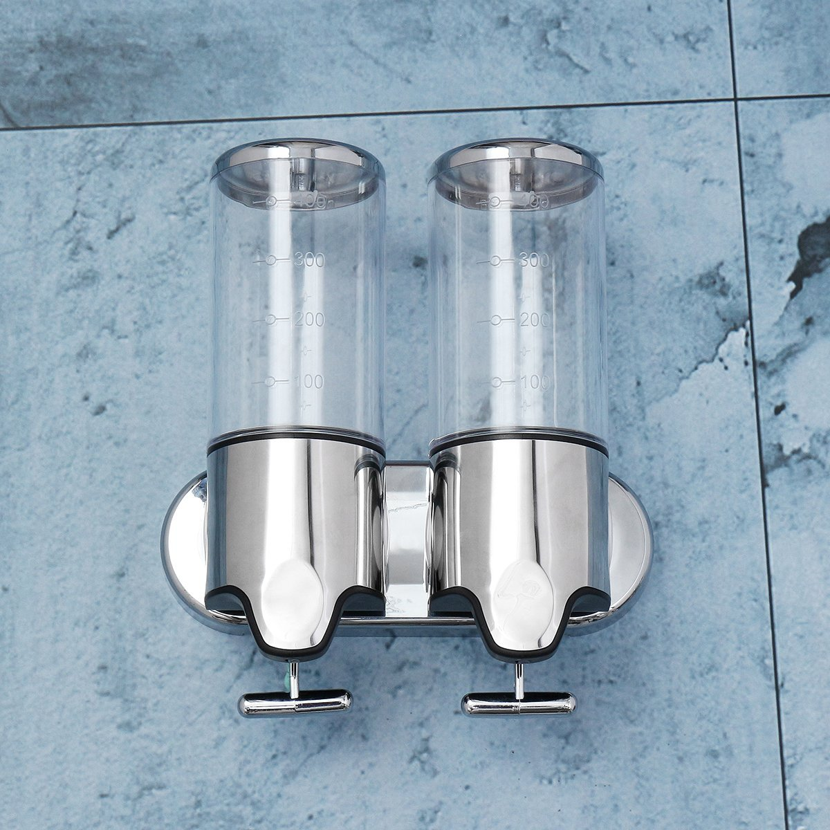 Wall Mounted Soap Dispenser, TAPCET 2X500ML Bathroom Double Liquid Dispenser Shower Dispenser Stainless Steel Double 500ML Bottles Shampoo Conditioner Hand Cream Dispenser for Bathroom/ Kitchen/ Hotel