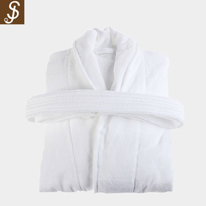 S&J High Quality Bath Robe 100% Cotton With Hat Spa And Nap Long Sleeve Cotton