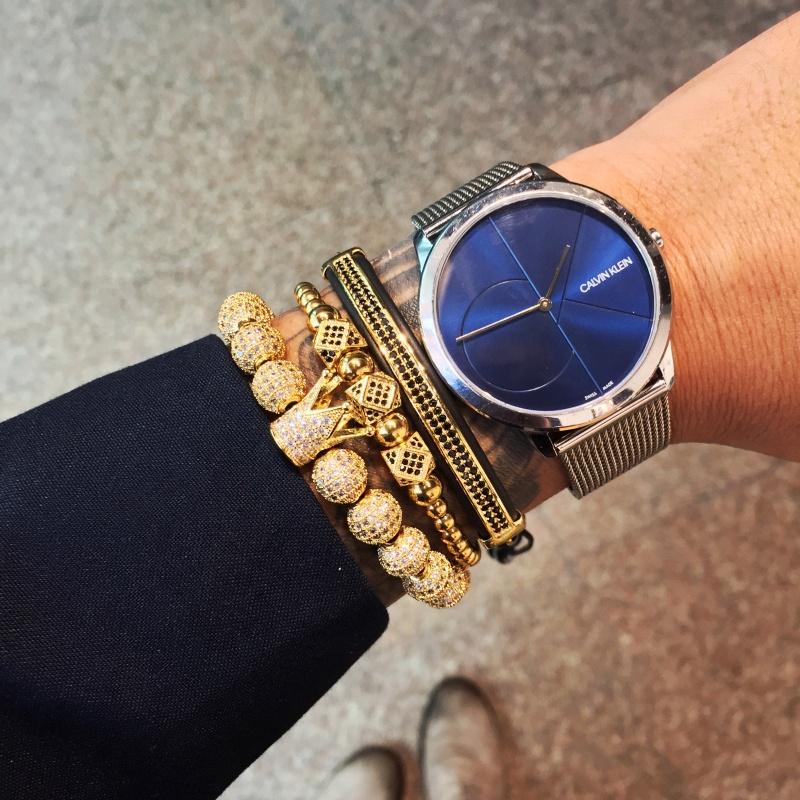 Mcllroy fashion men bracelet 6mm Titanium steel beads crown bracelets copper inlaid zircon bracelets metal bracelet фото