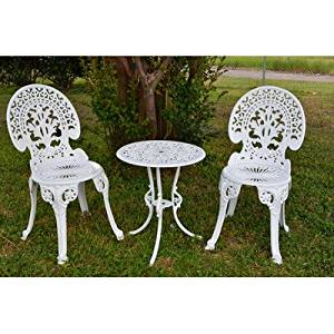Get Quotations · Outdoor 3 Piece Bistro Set Made W/ Cast Iron And Aluminium  In Angel White Finish
