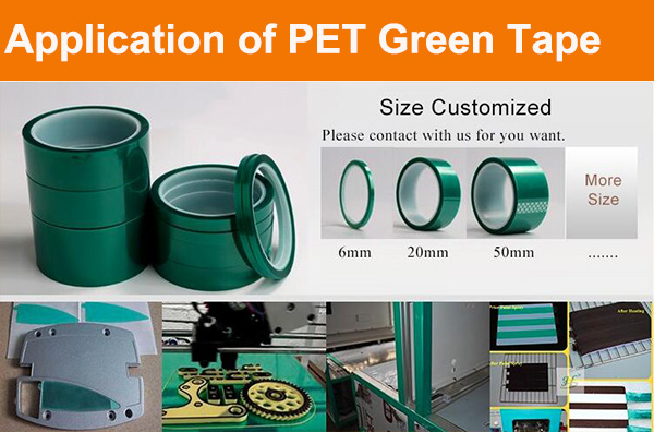 high temperature heat resistant silicone adhesive 50mm green pet tape
