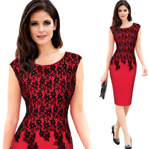 Latest DESIGN Factory Wholesale Vintage Lace Embroidery Pencil Dress Slim Midi Work Office Career Dresses