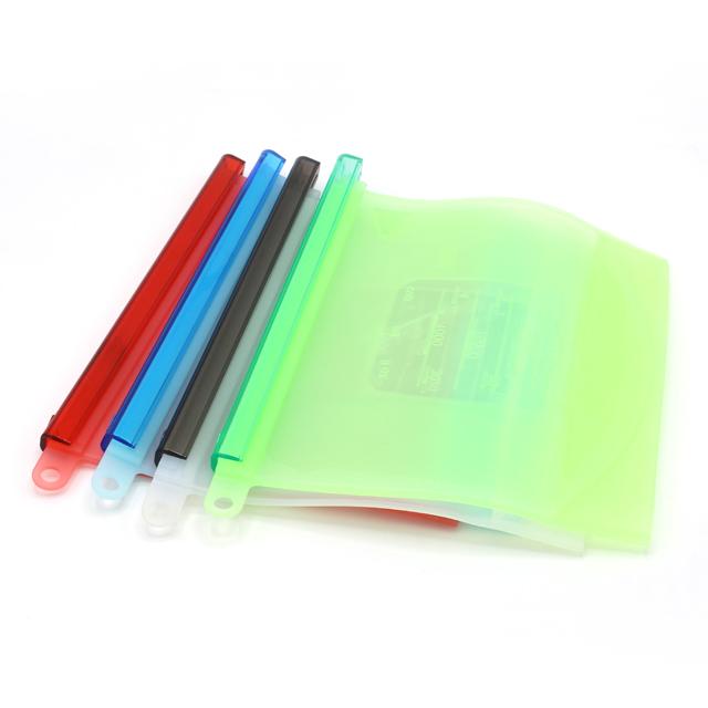 500/1000/1500ML BPA मुक्त Ziplock Leakproof पुन: प्रयोज्य सिलिकॉन खाद्य ताजा भंडारण बैग के साथ कस्टम लोगो