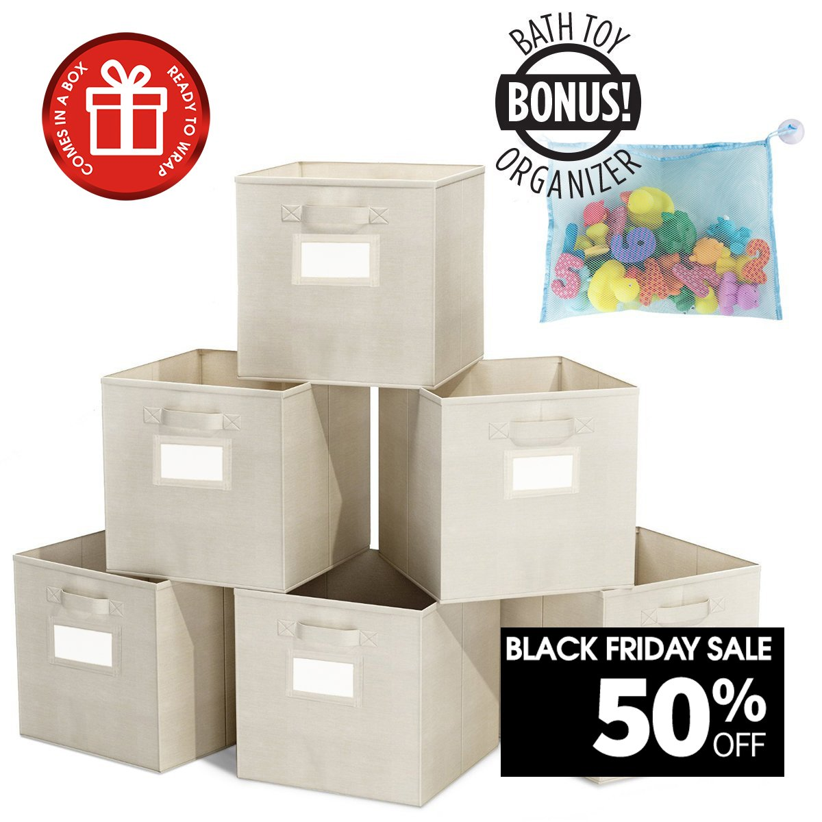 ClosetMate Foldable Cube Storage Bins - 6 Pack - Bonus Toy Organizer- With Label Holder for Better Organization - Fabric Cubes Are Collapsible Great Organizer for Shelf, Closet or Storage