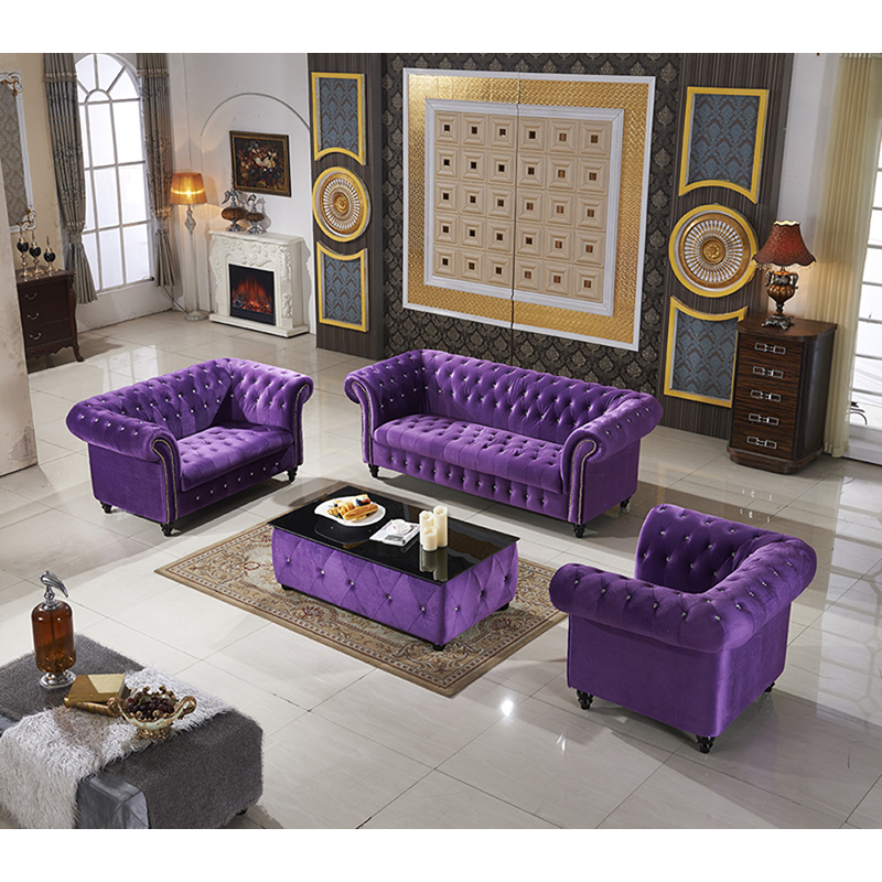 Modern Living Room Furniture Black Purple Fabric Chesterfield Sofa With  Coffee Table - Buy Fabric Chesterfield Sofa,Chesterfield Fabric ...