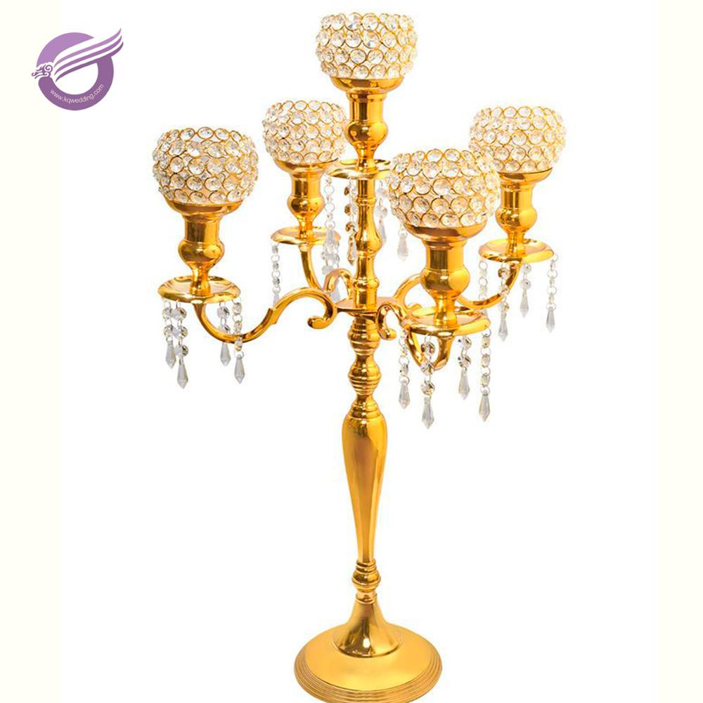 Zt41420 Wholesale Table 5 Arms Cheap Glass Crystal Gold Candelabra ...