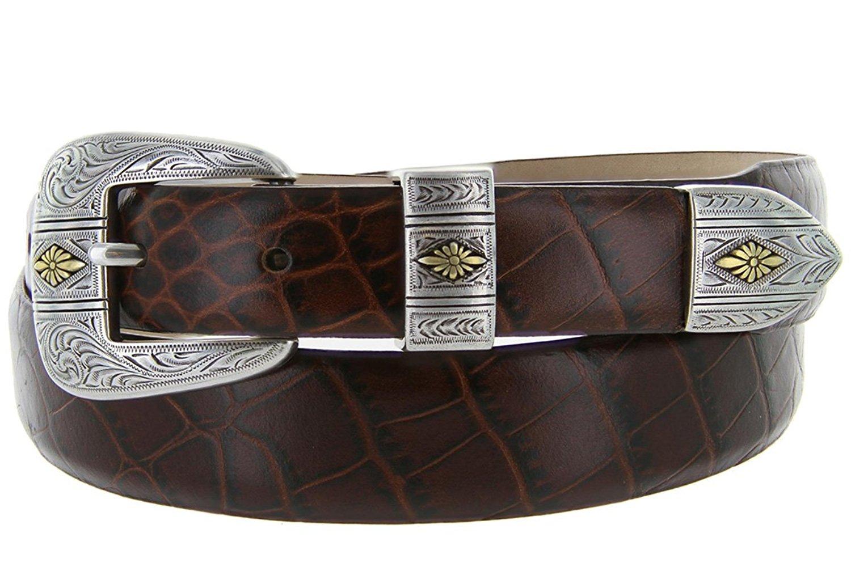 Mesa Gold - Men's Italian Calfskin Designer Dress Golf Belt with Western Silver Plated Buckle Set (36 Alligator Brown)