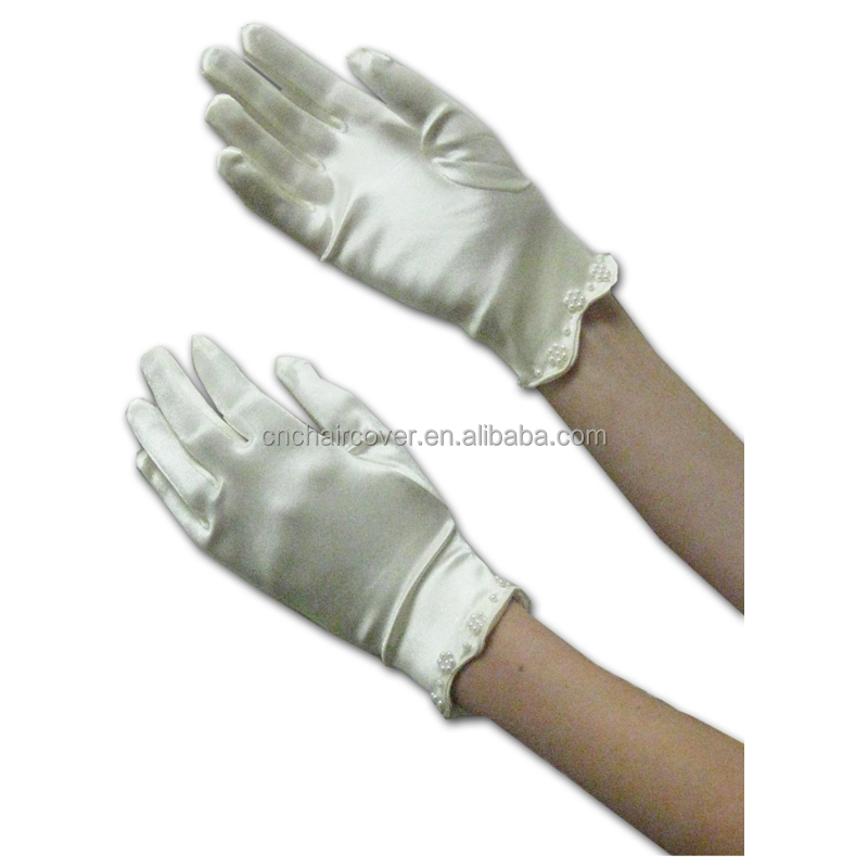 2016 High Quality Elbow Length White Satin Bride Gloves