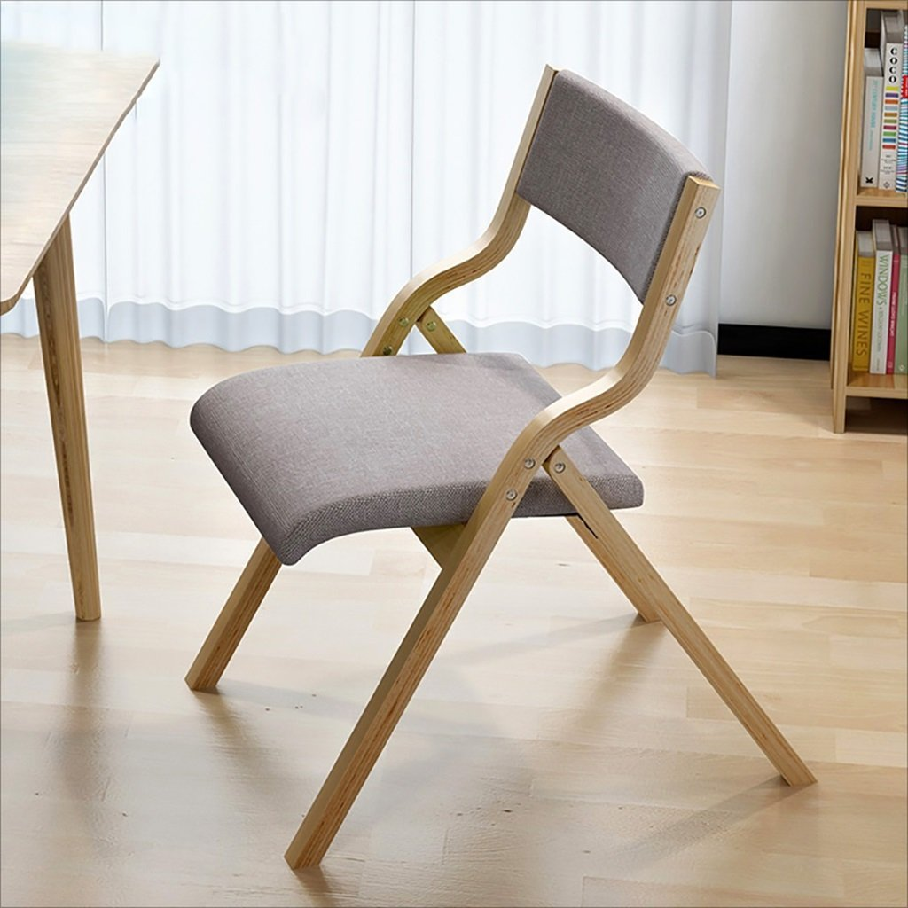 fold up chairs Home simple portable solid wood folding dining chair, simple folding back computer chair, living room lounge chair (Size:47 63.5 73cm) Folding Chairs (Color : D)