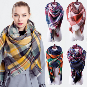 Women Winter Plaid Multi Color Scarf Shawl Oversized Tartan Scarf