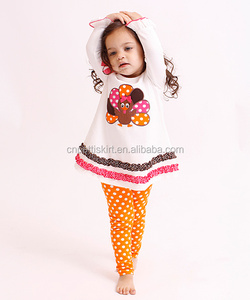 2015 Top Quality Kids Persnickety Remake Cotton Outfit Baby Halloween Outfit & ThanksgivingTurkey Wholesale Fall Clothing Set