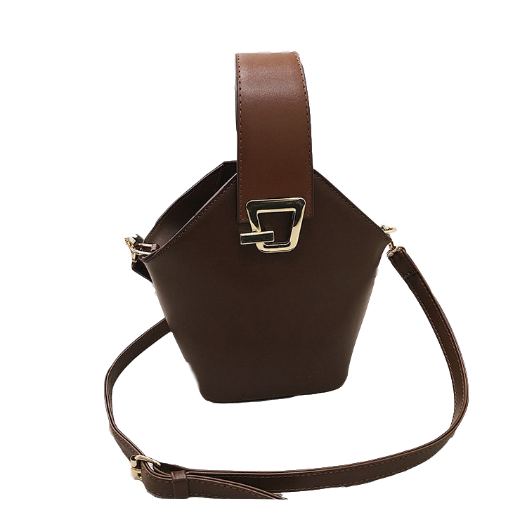 2019 Wholesale Solid Color Retro Bucket Bag PU Leather Metal Buckle Decorated Shopping Messenger Bags <strong>Handbag</strong>