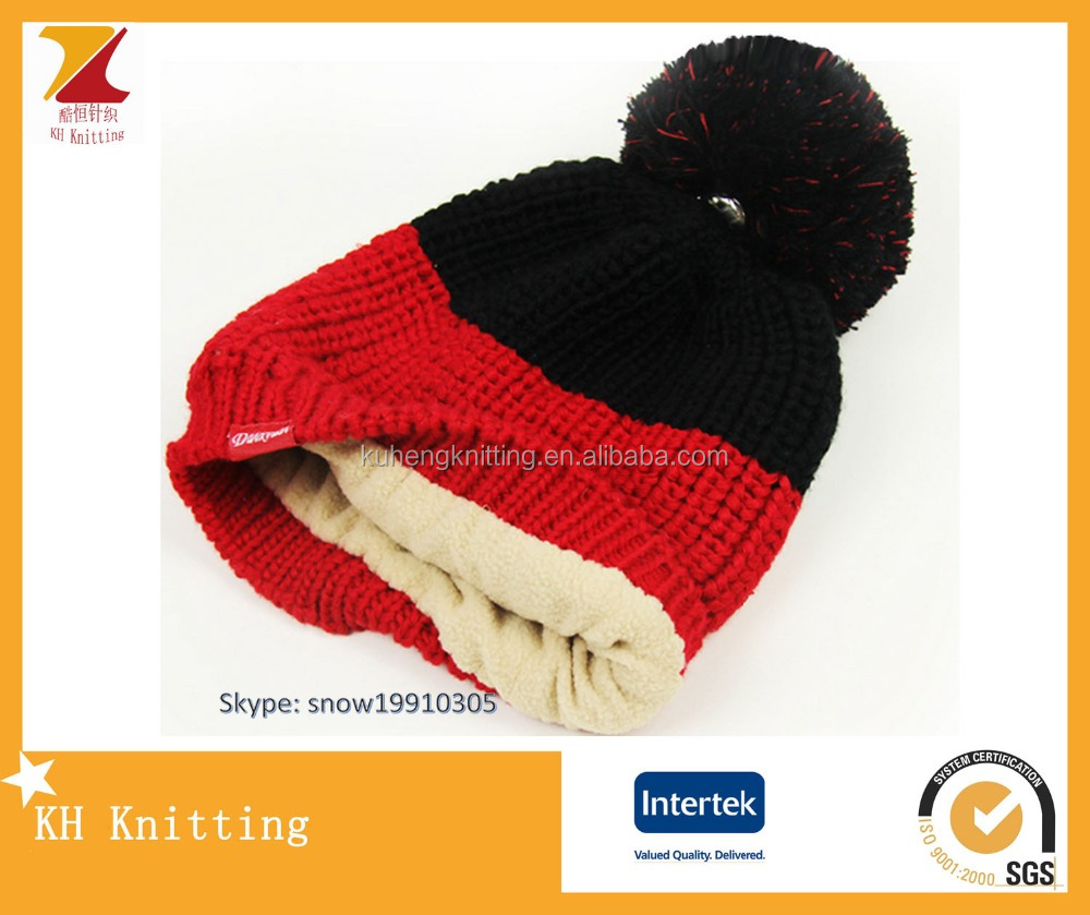 ecee3a5903e Warm and classical plain red black knit beanie hat with polar fleece lining