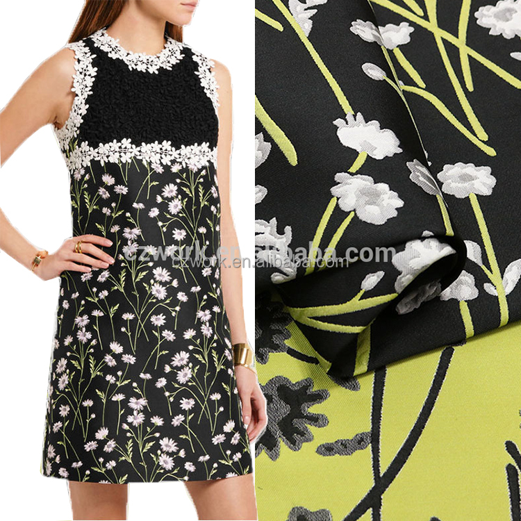 Funky Vintage Inspired 70/'s Floral Jacquard Chiffon Dress Fabric Material