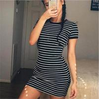 2018 New Spring Summer Women Round Neck Fashion Black and White Striped Long Sleeve Straight Plus Size Casual Dress