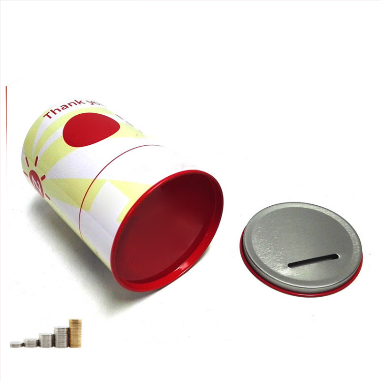 Round Tin piggy banks for saving coin money saving coin tin cans coin saving tin box