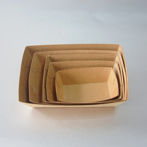 Food grade disposable paper food serving tray