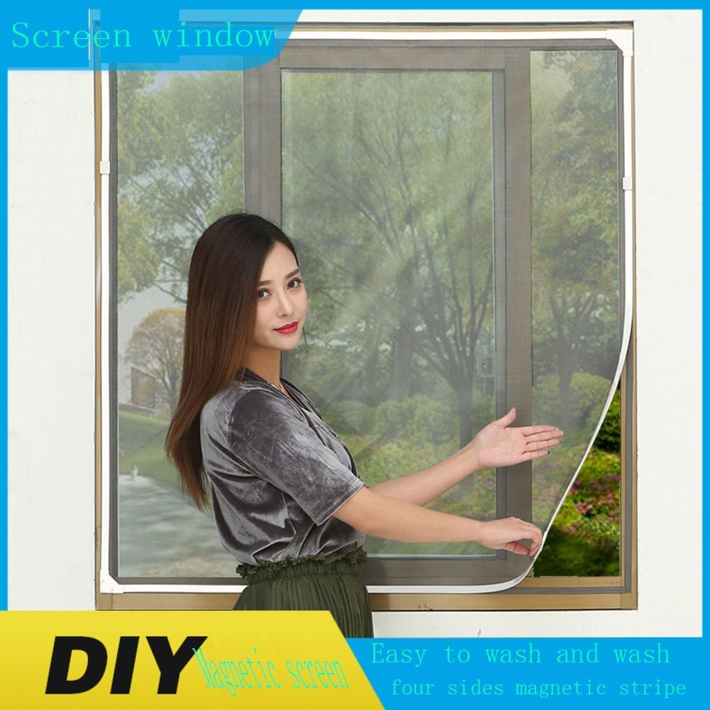 X&M Diy self-adhesive magnetic window screen,Can customized~non-velcro invisible screen window screen.Green box tasteless encrypted gray network (Recommended)-P 100x120cm(39x47inch)